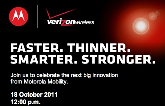 "Motorola Oct 18 event promises ""Faster, Thinner, Smarter Stronger"" Verizon range"