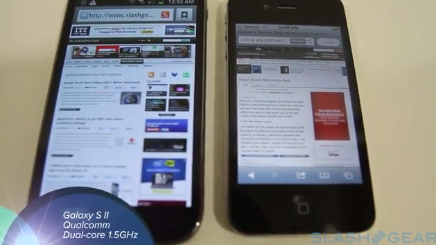 Apple iPhone 4S A5 chip vs 1.5 GHz dual-core Galaxy S II in browser tests [Video]