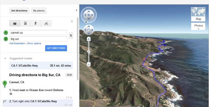Google Maps Helicopter View makes your directions 3D