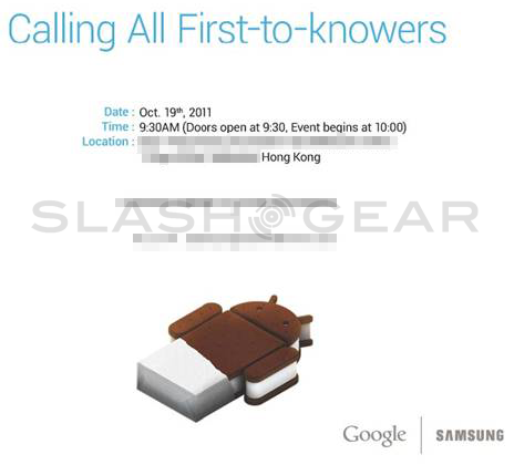 Samsung Google Android event set for October 19 in Hong Kong [Official]