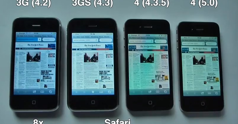 iPhone 4 with iOS 5 gets speed test video