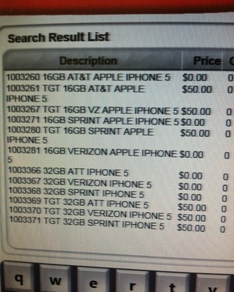 iPhone 5 appears on RadioShack inventory screen for several carriers