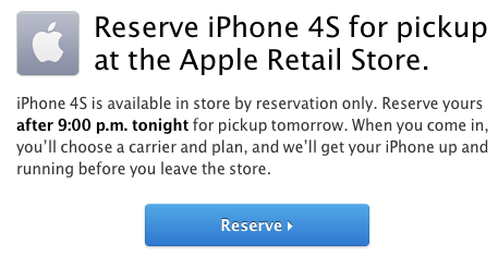 iPhone 4S sales restricted to reservations only