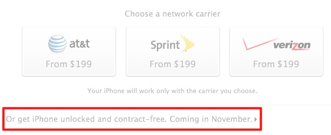 iPhone 4S unlocked option November in US