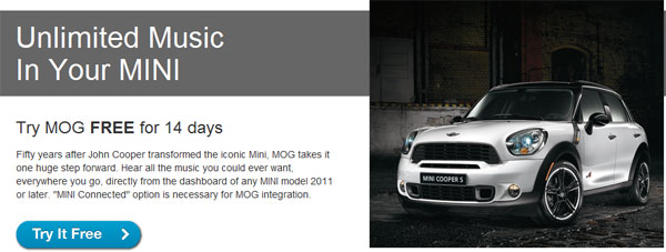 MOG music streaming comes to Mini and BMW vehicles