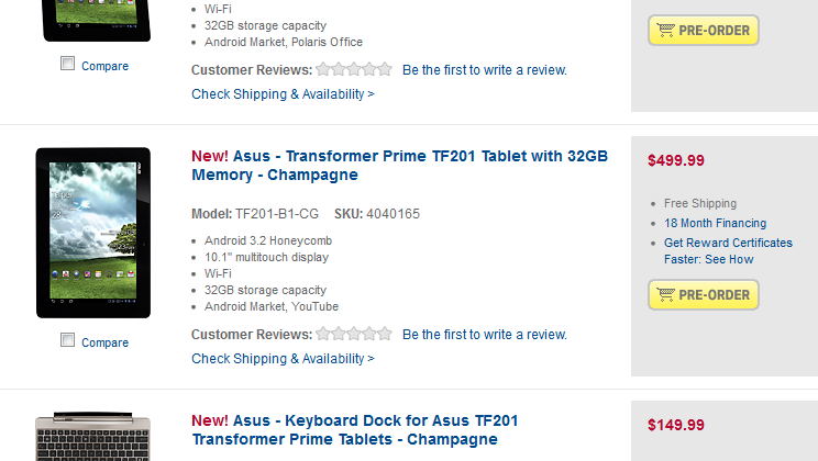 Asus Transformer Prime available for pre-order at Best Buy now
