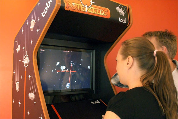 Tobii EyeAsteroids arcade game has no joystick, uses eye control
