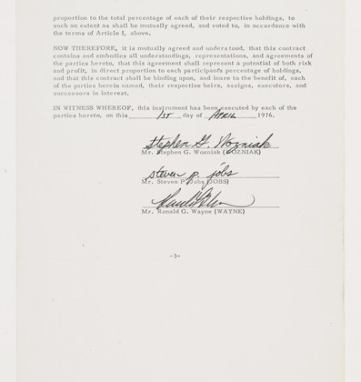 Apple's founding contract signed by Jobs & Wozniak could fetch $150,000 in auction