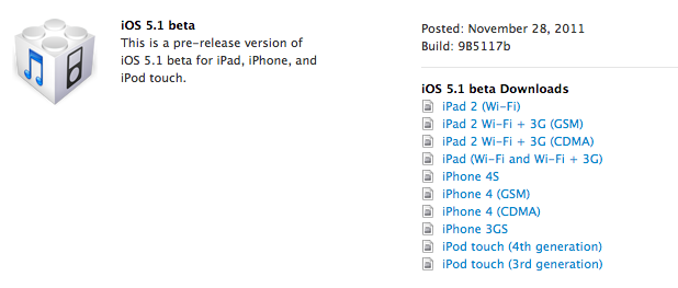 iOS 5.1 released early for developers