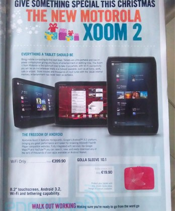 Motorola XOOM 2 priced for pre-holiday launch