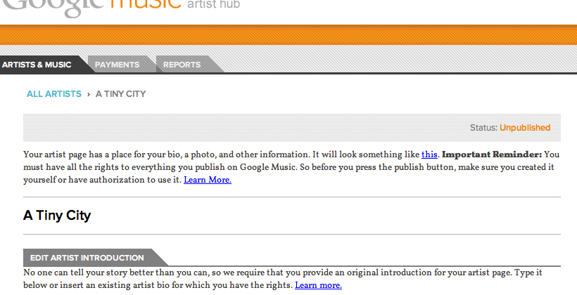 Google Music Artist Hub hands on Part 1: getting started