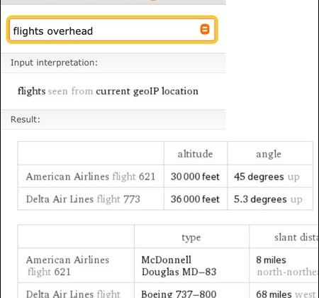 WolframAlpha can now tell you what flights are overhead