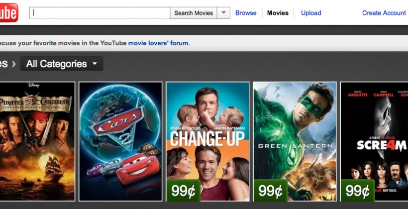 YouTube offering Disney and Pixar movies for rent