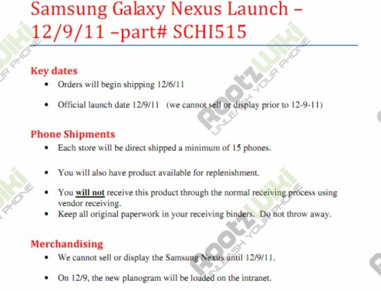 Verizon Galaxy Nexus launching December 9th, according to leaked document