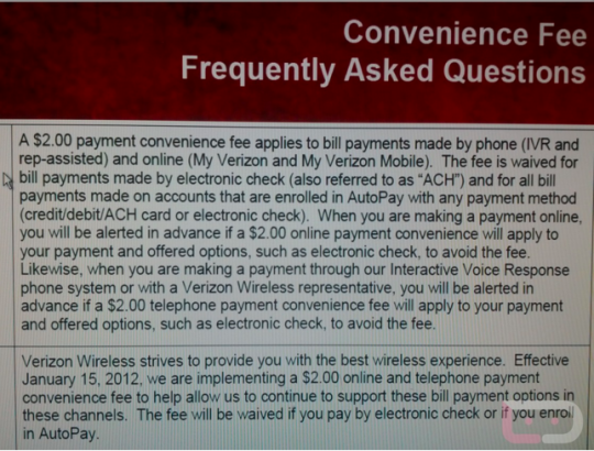 Verizon confirms $2 fee for online bill payments