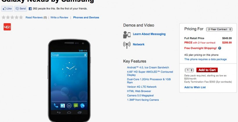 Verizon Galaxy Nexus on sale now for $300