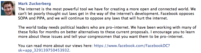 Facebook's Zuckerberg blasts SOPA and PIPA