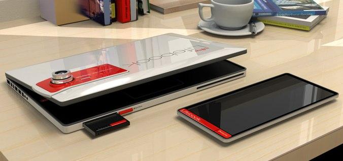 Fujitsu LIFEBOOK2013 concept docks tablet, phone & camera in laptop