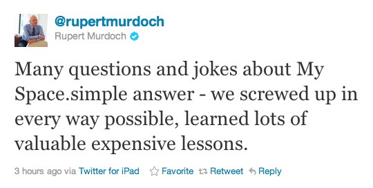 """Murdoch on MySpace: """"We screwed up in every way possible"""""""