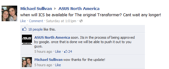 ASUS: Transformer ICS update in final Google checks