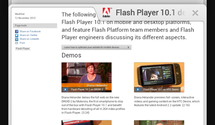 Chrome for Android won't ever get Flash