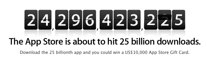 Apple App Store hitting 25 billion downloads imminently