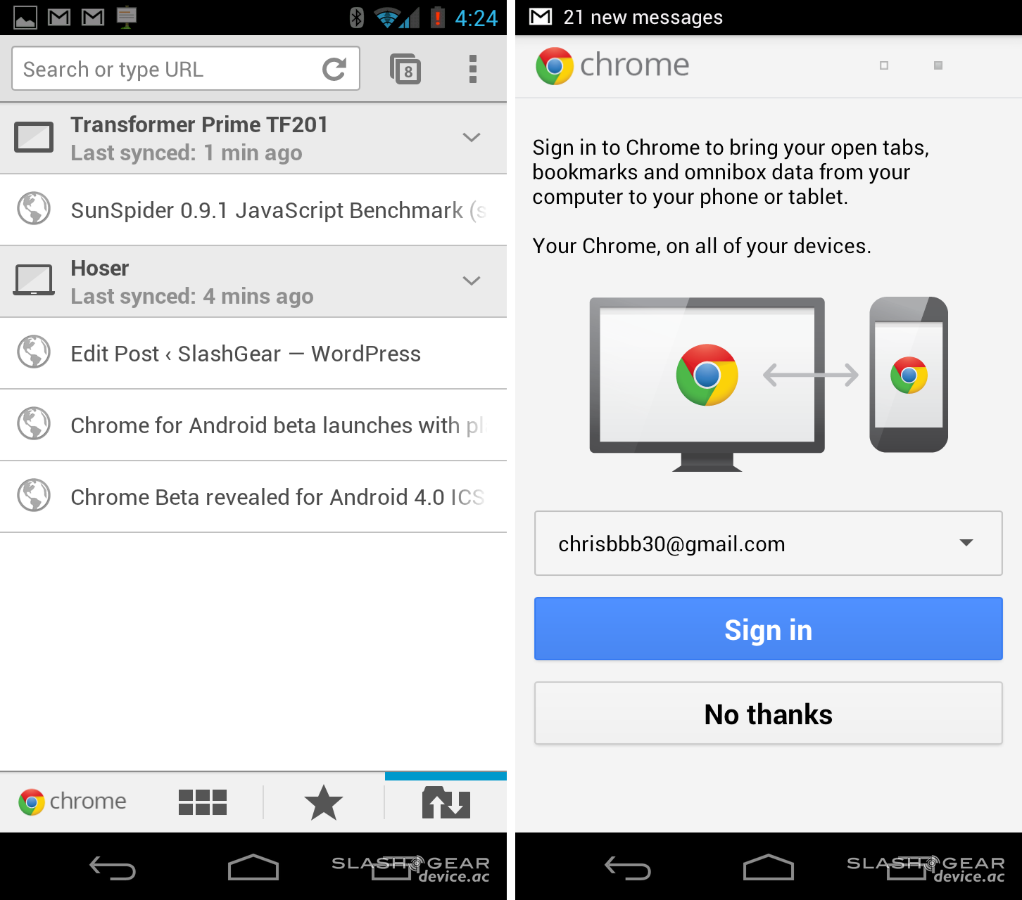 Chrome Beta for Android 4 0 ICS Review - SlashGear