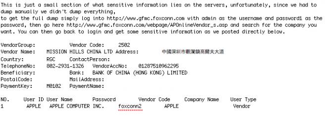 Foxconn hack releases Apple order data