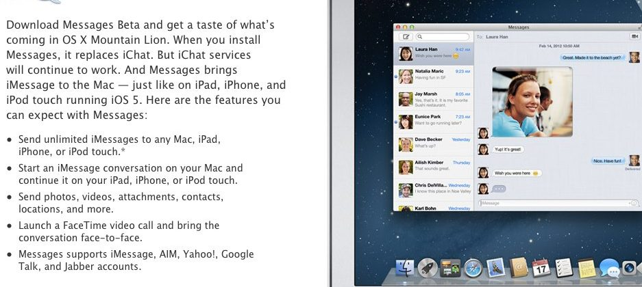 Messages for OS X beta available now