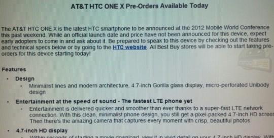 Best Buy begins HTC One X pre-orders