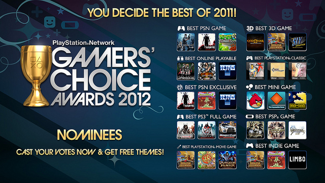 Sony PSN Gamers' Choice Awards nominees announced