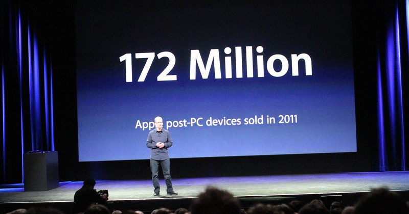 """Apple has it feet firmly planted in the post-PC future"" touts Tim Cook"