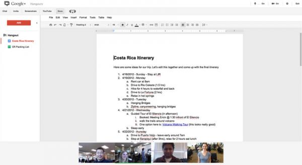 Google Hangouts gets Google Docs integration