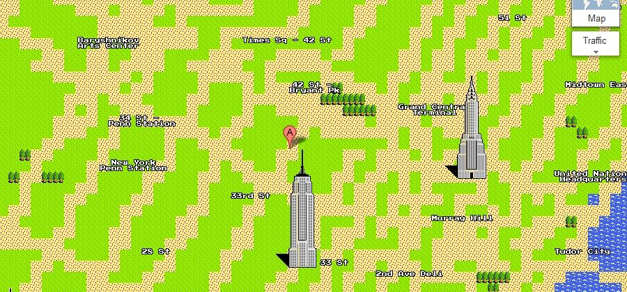 Google Maps goes 8-bit for April Fool's