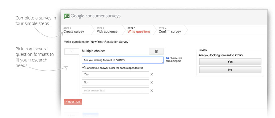 Google Consumer Surveys tool promises cash and stats