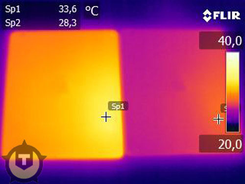 Thermal imaging illustrates heat difference between iPads