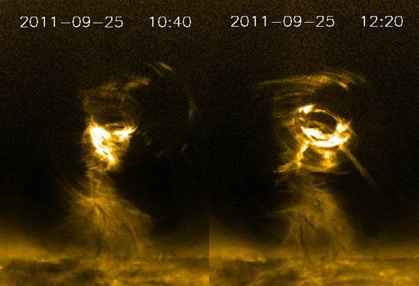 Solar tornado wide as five Earths caught on camera