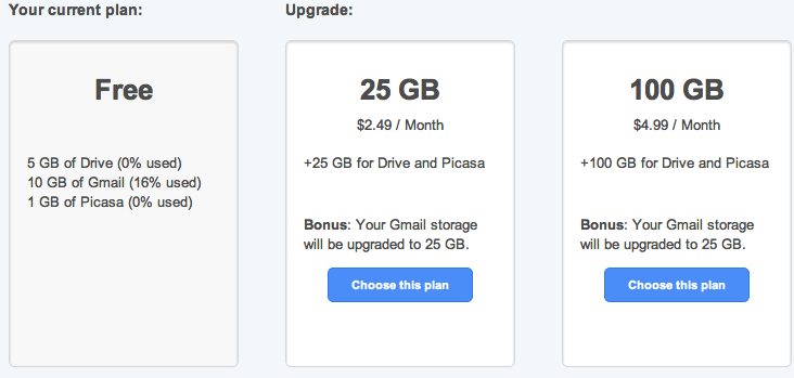 Gmail gets 10GB bump plus Google Drive bonuses