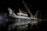 Space shuttle Discovery comes to rest at the Smithsonian