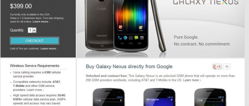 Google selling HSPA+ Galaxy Nexus for $399