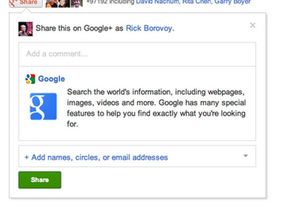 Google+ gets a share button