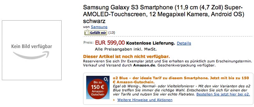 Samsung Galaxy S III hits Amazon pre-order