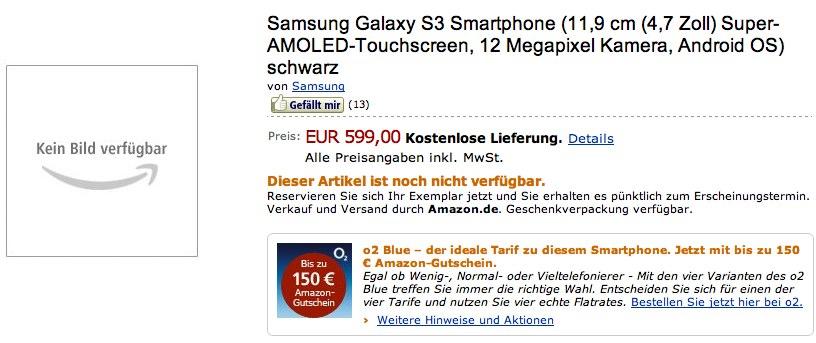 Samsung Galaxy S III hits Amazon pre-order