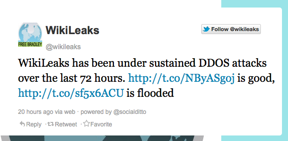 WikiLeaks recovers from massive DDoS attack
