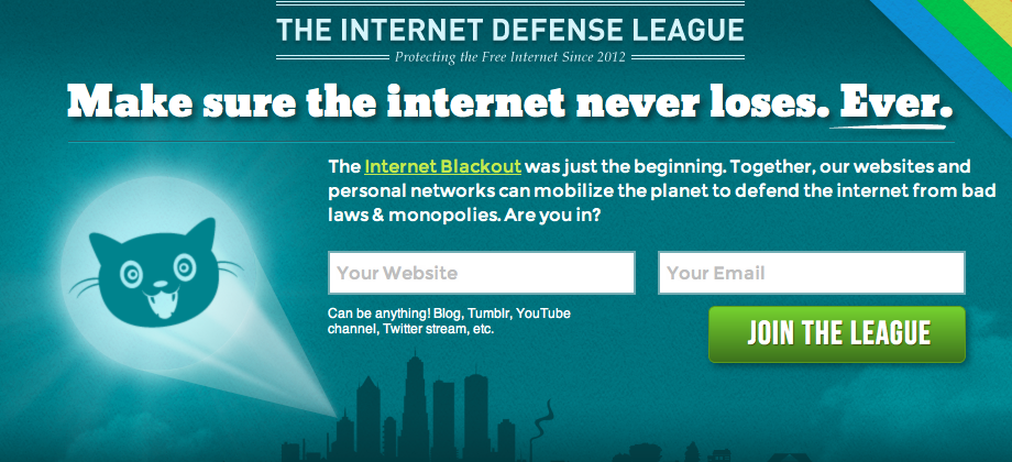 """Bat-Signal for the Internet"" teased by ""Internet Defense League"""