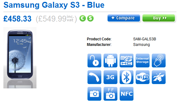 Samsung Galaxy S III to cost £550 unlocked: ships May 30th