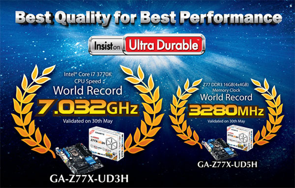 Gigabyte grabs Ivy Bridge CPU overclocking record at 7.032 GHz