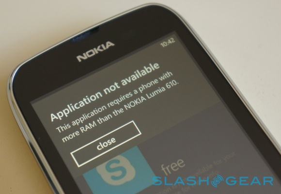 Nokia Lumia 610 restricted from more Windows Phone apps
