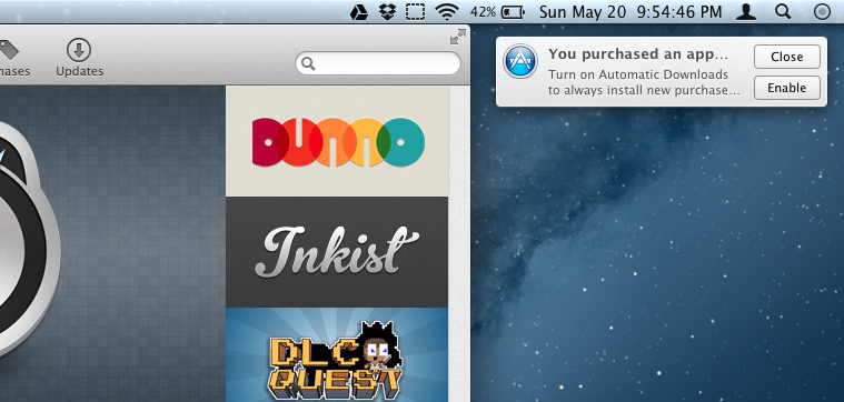 Automatic Downloads added to Mountain Lion