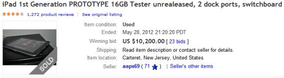 iPad prototype sells for $10,200